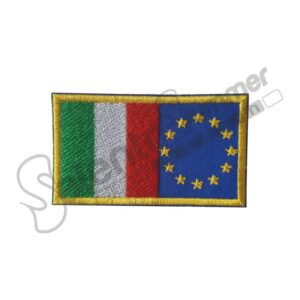 Patch Ricamo Bandiera Italia Europa Salento Summer Design Ruffano