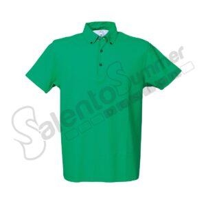 Polo-Phuket-Cotone-Piquet-Pettinato-Bottoni-Collo-Oxford-Verde