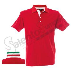 Polo Riccione Cotone Jersey Pettinato Bottoni Tricolore Rosso Salento Summer Design Ruffano