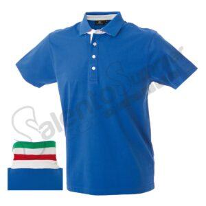 Polo Riccione Cotone Jersey Pettinato Bottoni Tricolore Royal Salento Summer Design Ruffano