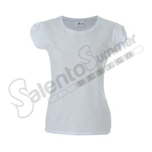 T-Shirt Donna Girocollo Perth Lady Cotone Slubby Effetto Fiammato Bianco Salento Summer Design Ruffano