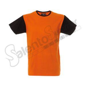 T-Shirt Uomo Girocollo Lisbona Cotone Pettinato Arancio Nero Salento Summer Design Ruffano