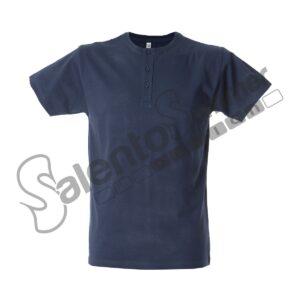T-Shirt Uomo Girocollo Malaga Bottoni Cotone Pettinato Navy Salento Summer Design Ruffano