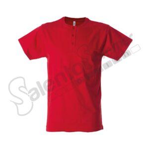 T-Shirt Uomo Girocollo Malaga Bottoni Cotone Pettinato Rosso Salento Summer Design Ruffano