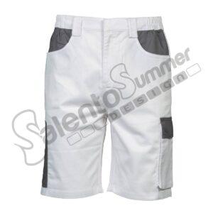 Pantalone Corto Multitasche Tiziano Uomo Portautensili Poliestere Cotone Bianco Salento Summer Design Ruffano