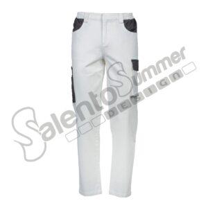 Pantalone Lungo Multitasche Elasticizzato Caravaggio Cotone Pesante Caravaggio Uomo Slim Portautensili Bianco Salento Summer Design Ruffano
