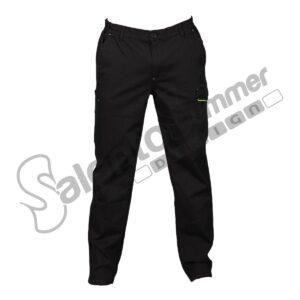 Pantalone Lungo Multitasche Elasticizzato Zurigo Uomo Cotone Pesante Portautensili Nero Salento Summer Design Ruffano