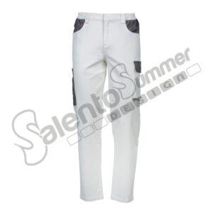 Pantalone Lungo Multitasche Leggero Giotto Uomo Slim Portautensili Poliestere Cotone Bianco Salento Summer Design Ruffano