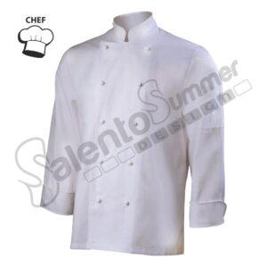 Giacca Cuoco Chef Cotone Collo Coreana Porta Penne Bottoni Salento Summer Design Ruffano