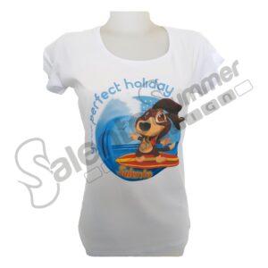 T-Shirt Maglietta Bianco Cotone Donna Vacanze Holiday Salento Summer Design Ruffano