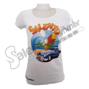 T-Shirt Maglietta Bianco Cotone Donna Vacanze Salento Summer Design Ruffano